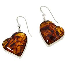 Jay King Sterling Silver Amber Heart Earrings