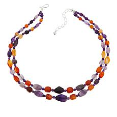 Jay King Sterling Silver Amethyst and Multi-Color Chalcedony Necklace