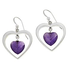 Jay King Sterling Silver Amethyst Heart Drop Earrings