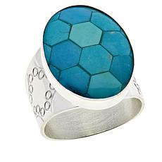 Jay King Sterling Silver Andean Blue Turquoise Inlay Oval Ring