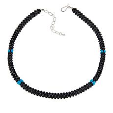 Jay King Sterling Silver Black Spinel and Turquoise Bead Necklace
