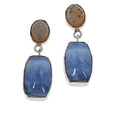 Jay King Sterling Silver Blue Opal and Multi-Color Agate Drop Earrings