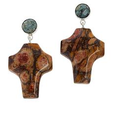 Jay King Sterling Silver Chalcedony and Shitake Stone Drop Earrings