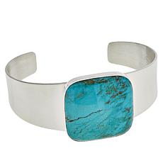 Jay King Sterling Silver Cushion-Cut Cloudy Mountain Turquoise Cuff