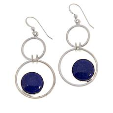 Jay King Sterling Silver Double Circle Floating Gemstone Drop Earrings