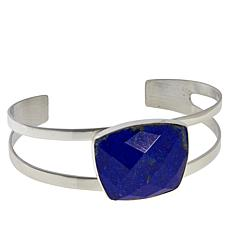 Jay King Sterling Silver Faceted Lapis Split Top Cuff Bracelet