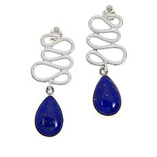Jay King Sterling Silver Figure 8-Design Lapis Drop Earrings
