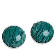 Jay King Sterling Silver Green Agate Stud Earrings