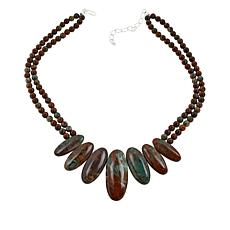Jay King Sterling Silver Green Colorful Forest Jasper Necklace