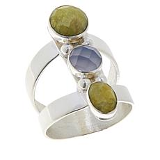 Jay King Sterling Silver Green Opal and Blue Agate Ring