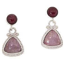 Jay King Sterling Silver Kunzite and Tourmaline Drop Earrings