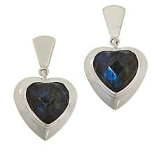 Jay King Sterling Silver Labradorite Heart Drop Earrings