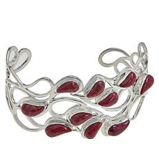 Jay King Sterling Silver Magenta Coral Cuff Bracelet