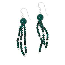 Jay King Sterling Silver Malachite Bead Tassel Earrings