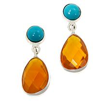 Jay King Sterling Silver Mexican Opal and Campitos Turquoise Earrings