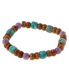 Jay King Sterling Silver Multi-Color Multi-Gemstone Stretch Bracelet