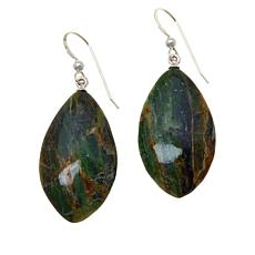 Jay King Sterling Silver Opalized Green Serpentine Drop Earrings