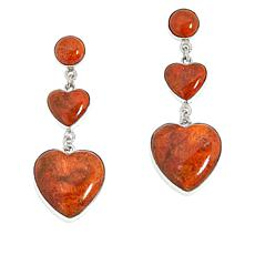 Jay King Sterling Silver Orange Coral Heart Earrings