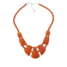 Jay King Sterling Silver Orange-Red Coral Necklace