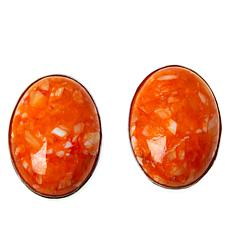 Jay King Sterling Silver Orange Spiny Oyster Shell Oval Earrings
