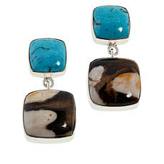 Jay King Sterling Silver Peanut Wood and Turquoise Drop Earrings