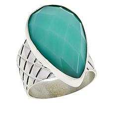Jay King Sterling Silver Pear-Shaped Green Opal Ring