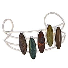 Jay King Sterling Silver Petrified Wood 5-Stone Cuff Bracelet