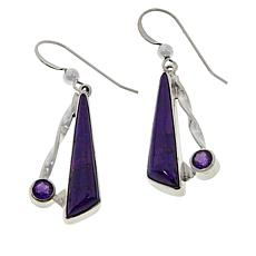 Jay King Sterling Silver Purple Turquoise and Amethyst Drop Earrings