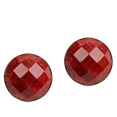Jay King Sterling Silver Red Coral Button Earrings