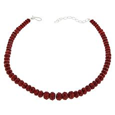 Jay King Sterling Silver Red Coral Faceted Bead Necklace