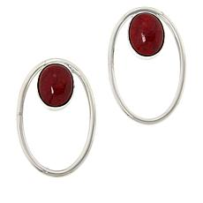 Jay King Sterling Silver Red Coral Oval Earrings