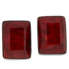Jay King Sterling Silver Red Coral Rectangular Earrings