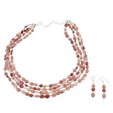Jay King Sterling Silver Rose Quartz Bead Necklace and Earring Set