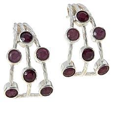 Jay King Sterling Silver Ruby Multi-Stone J-Hoop Earrings