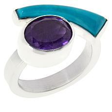 Jay King Sterling Silver Sonoran Turquoise and Amethyst Ring