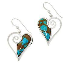 Jay King Sterling Silver Sonoran Turquoise Heart Drop Earrings