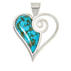 Jay King Sterling Silver Sonoran Turquoise Heart Pendant
