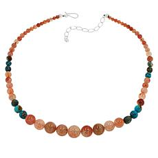 Jay King Sterling Silver Sunstone and Turquoise Bead Necklace