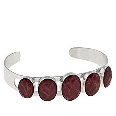 Jay King Sterling Silver Thulite Graduated 5-Stone Cuff Bracelet