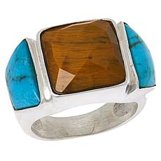 Jay King Sterling Silver Tiger's Eye and Andean Turquoise Ring