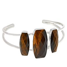 Jay King Sterling Silver Tiger's Eye Quartz 3-Stone Cuff Bracelet