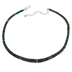 Jay King Sterling Silver Turquoise and Spiny Oyster Shell Necklace