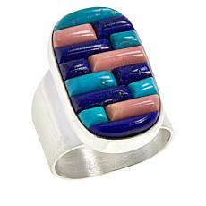 Jay King Sterling Silver Turquoise, Pink Opal and Lapis Inlay Ring