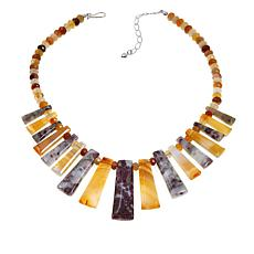 Jay King Tourmaline with Quartz and Carnelian Sterling Silver Necklace