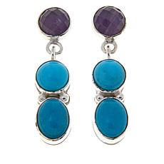 Jay King Turquoise and Amethyst Drop Earrings