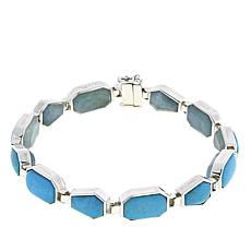 Jay King Turquoise and Aquamarine Reversible Sterling Silver Bracelet