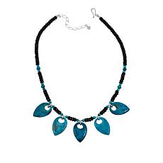 "Jay King Turquoise and Black Agate 18"" Sterling Silver Necklace"