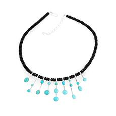 "Jay King Turquoise and Black Agate Bead 18"" Necklace"