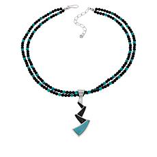 Jay King Turquoise and Black Gemstone Pendant with Beaded Necklace
