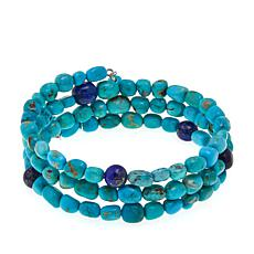 Jay King Turquoise and Lapis Bead Coil Bracelet